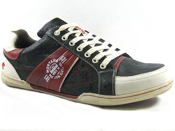 mustang herren schuhe sneaker in bergr e schwarz rot gro e gr en ebay. Black Bedroom Furniture Sets. Home Design Ideas